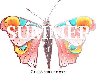 farfalla, rosso, colorito, estate