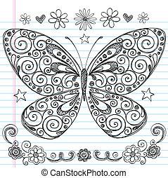 farfalla, scarabocchiare, sketchy, vettore