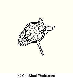 farfalla, schizzo, mano, disegnato, rete, icon.