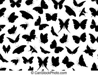 farfalla, seamless, isolato