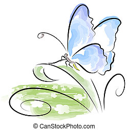 farfalla, sedendo erba