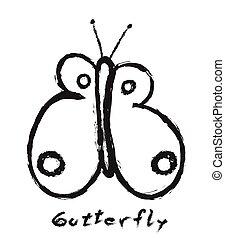 farfalla, semplice, vettore, scarabocchiare