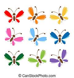 farfalla, set, per, tuo, disegno