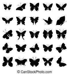 farfalla, set, silhouette