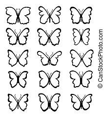 farfalla, set, vettore