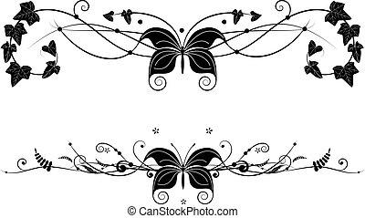 farfalla, set, vignette