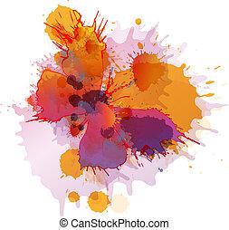 farfalla, sfondo bianco, schizzi, colorito