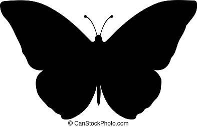 farfalla, silhouette, isolato, vettore, bianco, icona