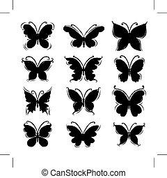 farfalla, silhouette, progetto serie, tuo