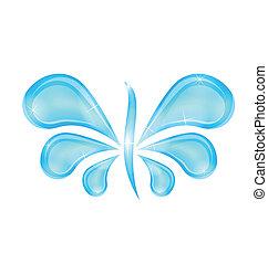 farfalla, stilizzato, astratto, acqua, schizzo, gocce