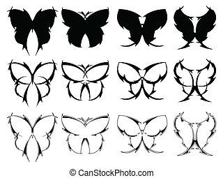 farfalla, tatuaggio, progetta