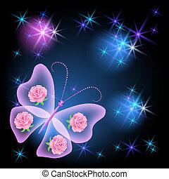 farfalla, trasparente, stelle