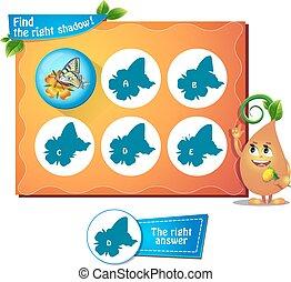 farfalla, uggia, destra, gioco