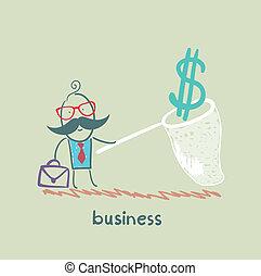 farfalla, uomo affari, rete, presa, dollaro