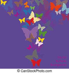 farfalla, vettore, fondo