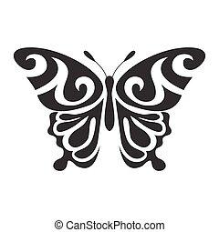 farfalla, vettore, icona