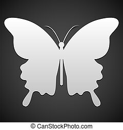 farfalla, vettore, o, fondo, icona
