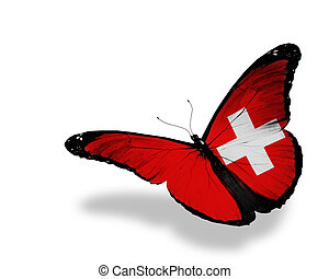 farfalla, volare, isolato, bandiera, fondo, svizzero, bianco