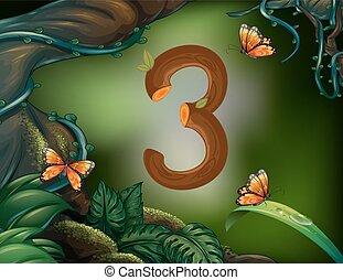 farfalle, 3, tre, giardino, numero