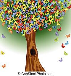 farfalle, albero, colorato