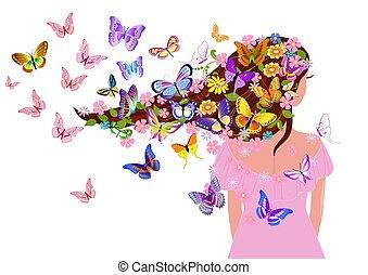 farfalle, disegno, ragazza, capriccio, tuo
