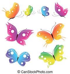 farfalle, disegno, vettore