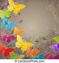 farfalle, e, floreale, ornamento