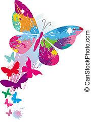 farfalle, e, linea, spazzole