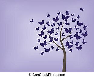 farfalle, fatto, albero