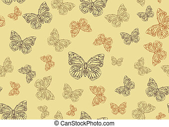 farfalle, impaurito, hand-drawn