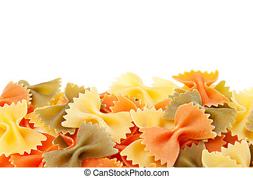 farfalle pasta, isolated on a white background