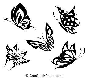 farfalle, set, nero, bianco, ta