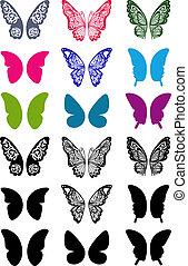 farfalle, set, unicolorous, ali