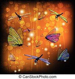 farfalle, trasparente, libellule