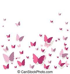 farfalle, vettore, fondo
