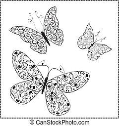 farfalle, vettore, ornamento