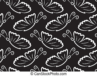 farfalle, vettore, pattern., seamless