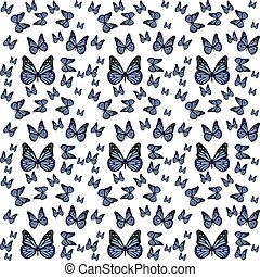 farfalle, vettore, pattern.