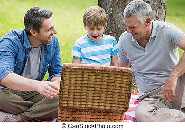 farfar, pappa och son, med, picknick korg, hos, parkera