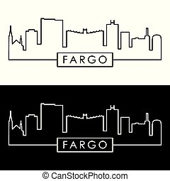 Fargo skyline. Colorful linear style.
