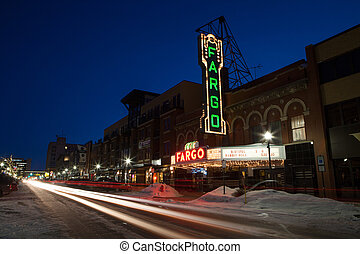 Fargo theater at dusk on a cold winter's day in North Dakota, USA