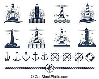 fari, logos, elementi, ancorare, -, corda, set, nautico