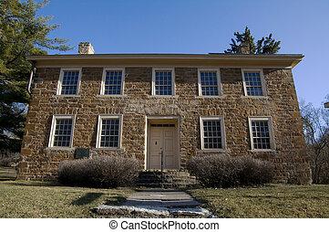 Faribault House Front - Photo of Jean Baptiste Faribault...