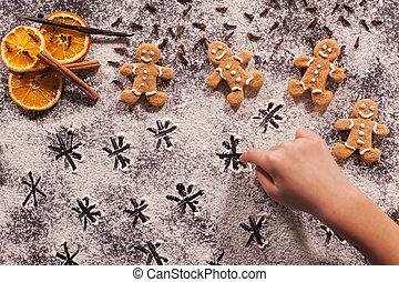 farina, gioco, stelle, bambino, mano, disegno