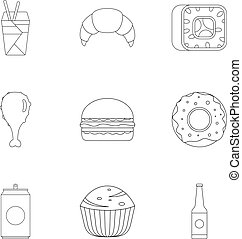 Farinaceous food icons set. Outline set of 9 farinaceous food vector icons for web isolated on white background