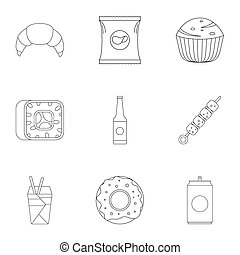 Farinaceous icons set. Outline set of 9 farinaceous icons for web isolated on white background
