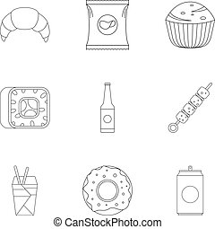 Farinaceous icons set. Outline set of 9 farinaceous vector icons for web isolated on white background