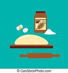 farinha, conceito, massa pão baking