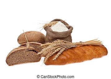 farinha, e, grão trigo, com, pão