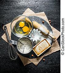 farinha, ovos, honey., assando, experiência.